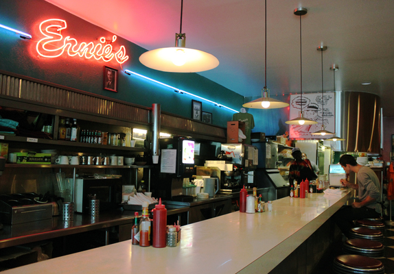 Ernie's Cafe in Columbia, MO is a classic style diner with neon signs, bar stools and delicious breakfast.