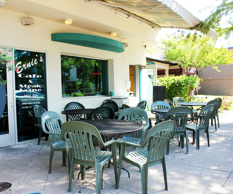 Ernie's offers outdoor seating for guests to enjoy famous breakfast outdoors.