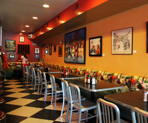 Checkered floor tiles accent Ernie's Cafe classic diner style.