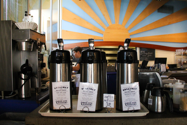 A variety of coffee options are available at Uprise Bakery