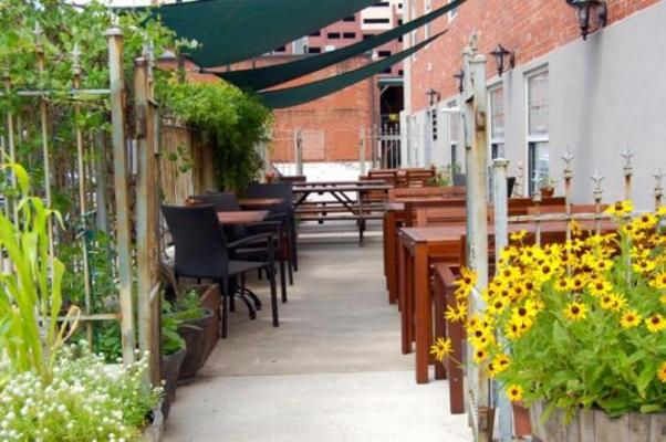 Outdoor patio area of Cherry Street Cellar.
