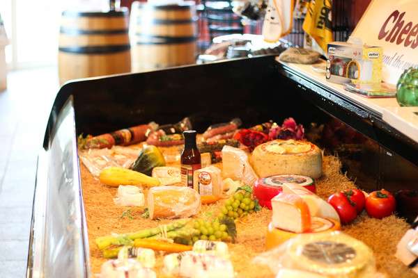 A large fresh cheese and meat selection is available