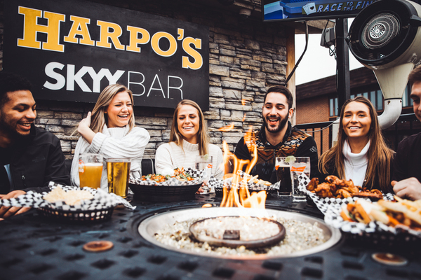 Don't let weather stop the fun, enjoy Harpo's sky bar all year round with electric heaters and fire pits.