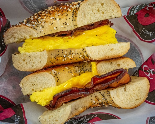 Try our bagel egg sandwich at B&B bagel in downtown Columbia, Mo.